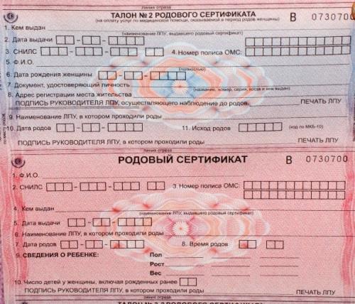 Правила получения и использования родового сертификата: условия и порядок действий в 2018 году, документы, фото сертификата